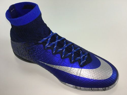 SR4U Reflective Royal Blue Soccer Laces on Nike MercurialX Proximo CR7 Natural Diamond