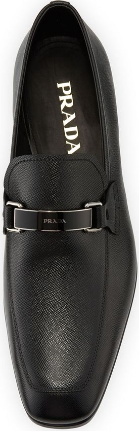 Prada Saffiano Leather Bit Loafer, Black