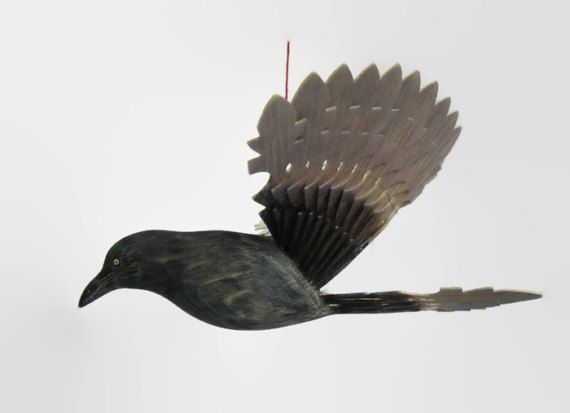 Hand Carved Wooden Bird Mobile Crow or Raven Fan by MyFanbirds