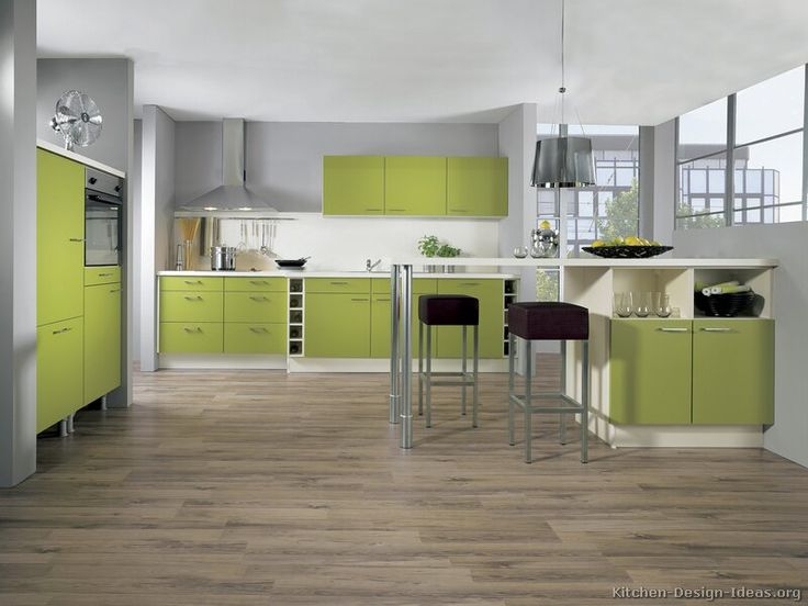 European Kitchen Cabinets Kitchen Design Ideas Kitchen Kitchen Cabinets Modern Two Tone 161 Green White Peninsula Bar Seating Wine Storage Picture 01 Foto