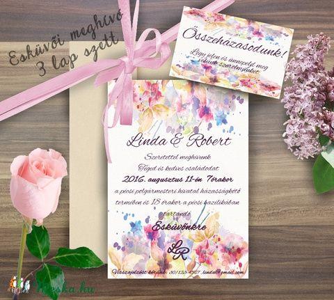 Esküvői meghívó, Virágos Esküvői lap, Esküvő Képeslap, rózsa lap,  rózsaszín meghívó, Esküvő, Naptár, képeslap, album, Meghívó, ültetőkártya, köszönőajándék, Képeslap, levélpapír, Meska