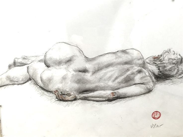 Female Back Reclining, by Veronica Petelin.  Litho pencil drawing on paper, 29.7 x 42.0cm (framed).  #litho #pencil #drawing #lifedrawing #study #female #nude #veronicapetelin #shadows #figuredrawing #contemporaryart #worksonpaper #melbourne #atelier451 #ormond