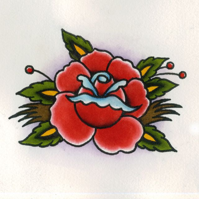 Traditional Blue Rose Tattoo Flash | Tattoos Design Ideas