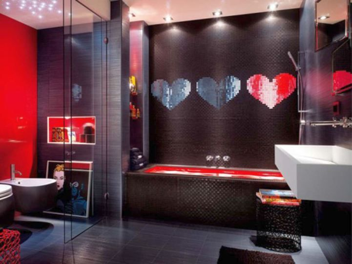 modern style black bathrooms ideas with red heart
