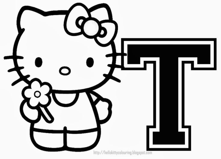Hello Kitty Alphabet for Coloring. Alfabeto de Hello Kitty para Colorear.