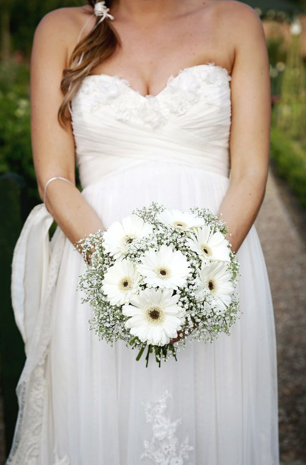 Wedding White Gerbera Gypsophila Bouquet Bridal http://schryverphoto.com/