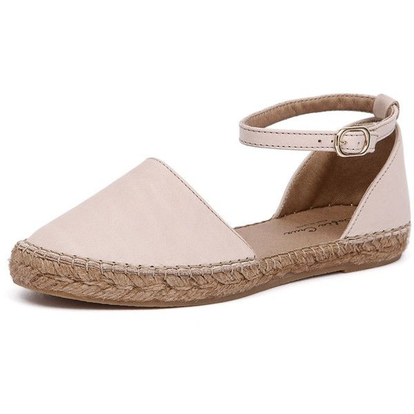 Sofia Cruz Katia 104 Beige ($115) ❤ liked on Polyvore featuring shoes, sandals, beach sandals, beige sandals, closed toe sandals, closed toe espadrilles and leather espadrille sandals