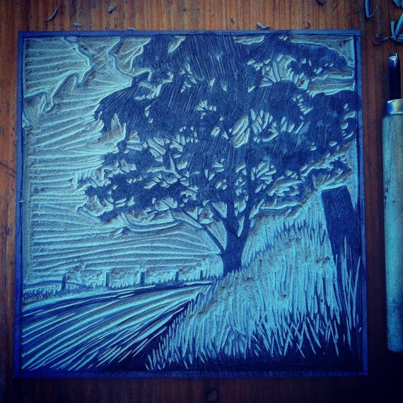 One of my recent series of linocut prints, this landscape is based on photos of the country road where I live. Coming home in the evening, the glow