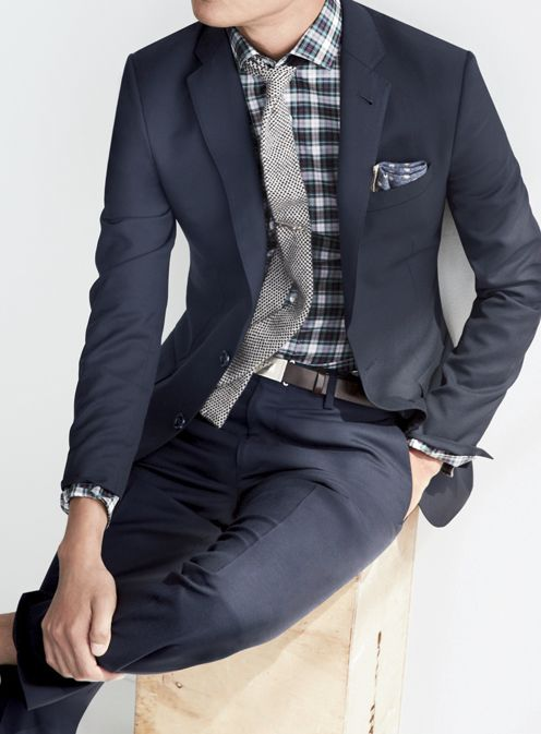12 best images about navy suits on pinterest groomsmen for Navy suit checkered shirt