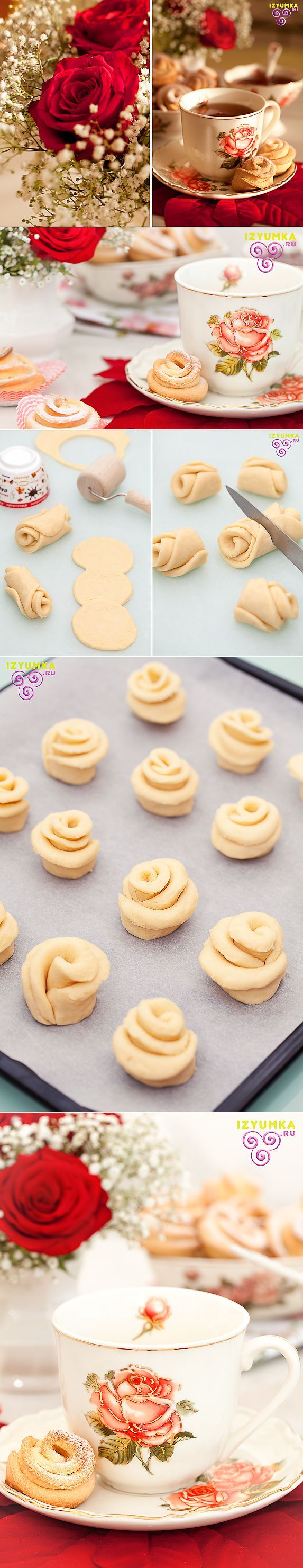 Творожные розы. | Выпечка | - no clue what this says. However, like the idea - simply roll into the rose shape and bake (you fill in the cookie dough). Nice idea for a tea party.