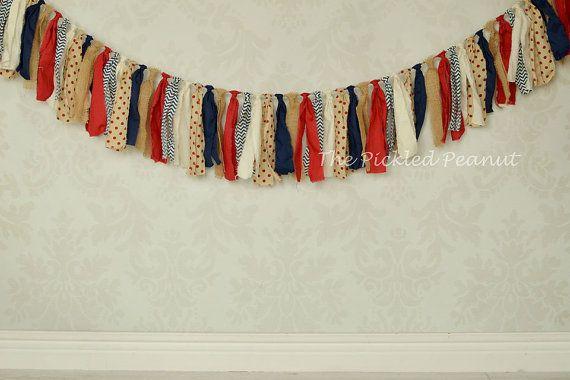 Vintage Americana ~ Red White Blue Shabby Chic Burlap Rag Tie Banner Bunting Backdrop Garland Party Decor Birthday Nursery Ribbon Chevron