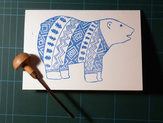 Linocut polar bear in a Christmas jumper by HandPrintedByDavid, $4.00