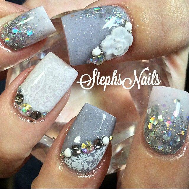 #grey#white#glittermix#glitternails#love#whiteonwhitelace#diamonds#unique#flowers#glitterombre#lacenails#cute#nails#notpolish#greynails