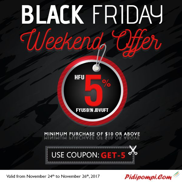 This Black_Friday, Welcome to Weekend offer with Pidipompi wonderful deals to all international calls. Save 5% extra minutes on minimun purchase of $10 or above. keep talking, do not break this black_friday weekend fun. No hidden fees and no taxes!!!  Coupon Code: Get-5  #BlackFriday2017 #InternationalCalls #PidipompiCouponCode