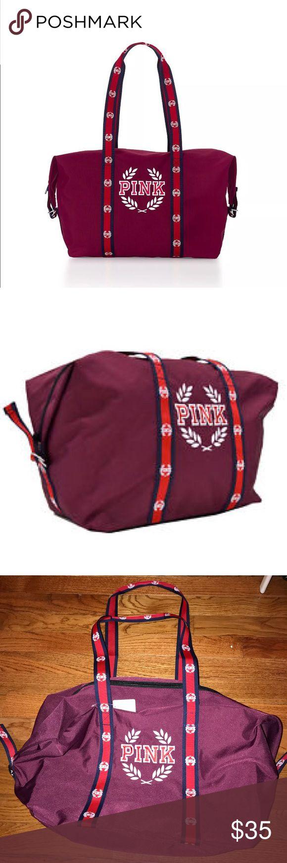 Victoria's Secret pink duffel bag Brand new with tags Victoria's Secret pink duffel bag. Color is burgundy/red PINK Victoria's Secret Bags Totes
