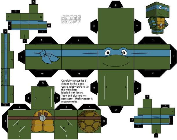 Blog Paper Toy papertoys Cubeecraft Tortues Ninja Leonardo Papertoys Tortues Ninja (x 5)