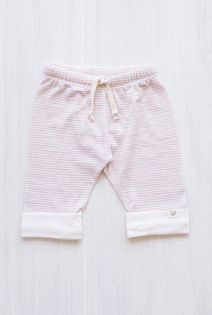 organic merino drawstring pants - Rose stripe.  Cutest little pants that baby will love wearing. So soft and comfy!