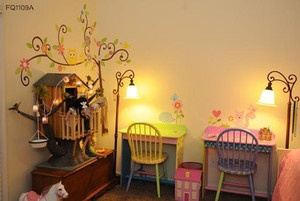 this is an ebay ad for vinyl wall art, but LOVE the american girl doll tree house idea