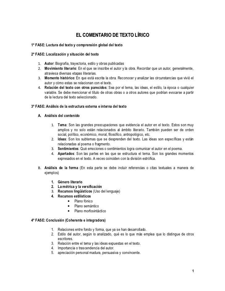 Ms de 25 ideas increbles sobre comentario de texto en pinterest el comentario de texto lrico 1 fase lectura del texto y comprensin global del texto fandeluxe Image collections