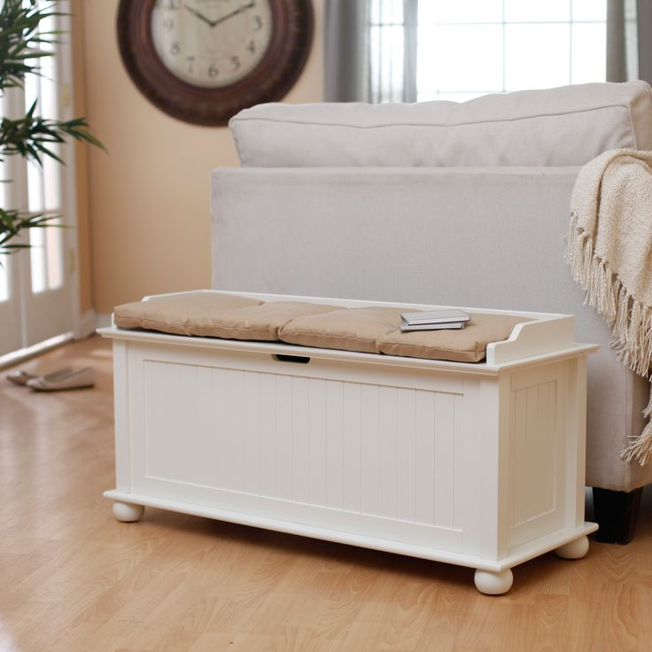 belham living morgan traditional flip top indoor storage bench vanilla: storage bench for living room