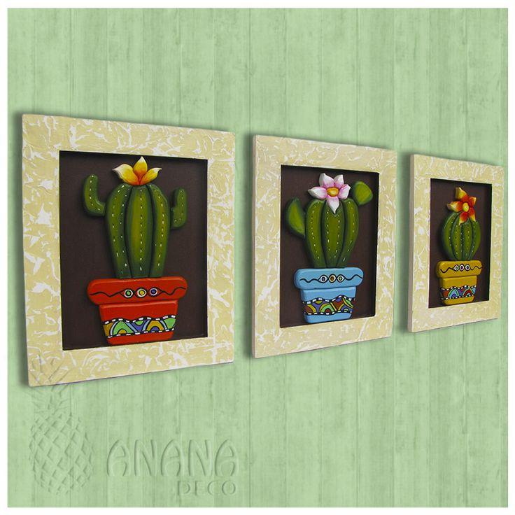 Cactus // Cuadros de madera en relieve pintados y decorados a mano // Hand painted and decorated Wooden paintings in relief