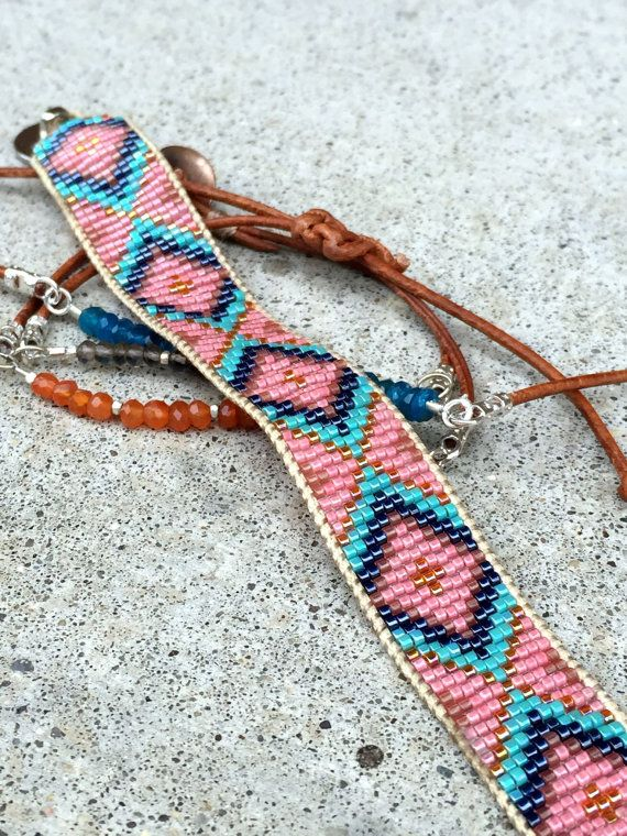 Coral and blue diamond bead woven loom bracelet This listing is for a handmade, loom woven cuff bracelet. The bracelet is created with high