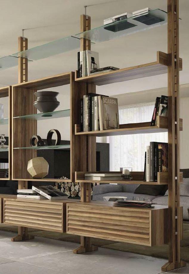 Double-sided divider walnut #bookcase E-110  by Dale Italia