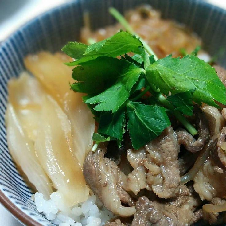 関東風好き煮どんぶり 豚肉を使ってるから関東風ってことで  #関西でお肉と言えば牛肉 #朝ご飯 #三ツ葉が美味い