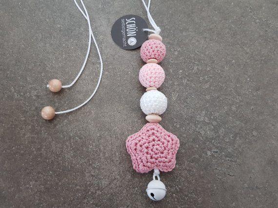 Crocheted stroller necklace crochet maxi cosi pendant crochet star