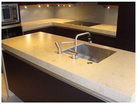 limestone kitchen worktop.
