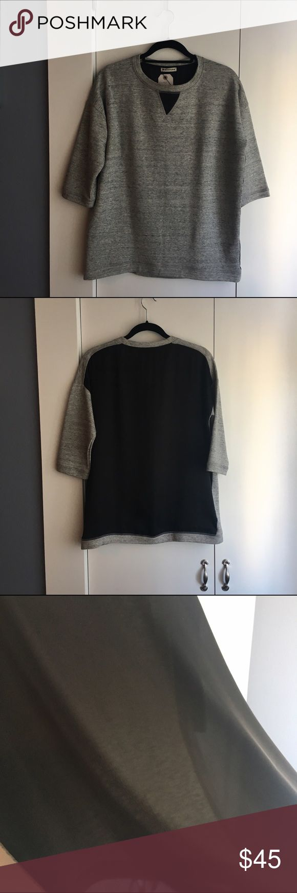 Oversized sweatshirt with sheer black back Heather gray front and rib trim, 3/4 sleeve, boxy with sheer back. Purchased in London from Whistles Whistles Tops Blouses
