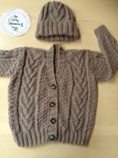Aran Irish Hand Knit Hat and Sweater 1836mths by TheCraftyShamrock
