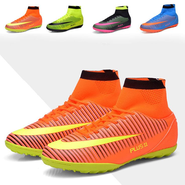 Adults Men's High Ankle Soccer Cleats TF Indoor Football Boots Soccer Sneakers #Unbranded