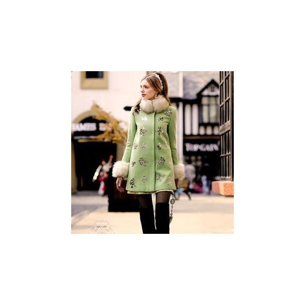 Faux-Fur-Collar Sequined Coat (¥16,490) ❤ liked on Polyvore featuring outerwear, coats, women, faux fur collar coat, collar coat, green coat, sequin coat and leather-sleeve coats