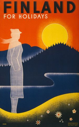 Finland for Holidays. A vintage Finnish travel poster published by Suomen-Matkat and the Finnish State Railways. Circa 1930s. Illustrated by I. Bade.