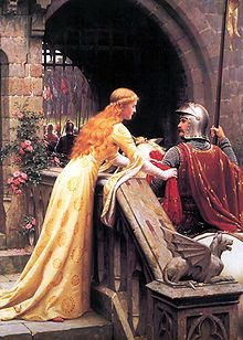 God Speed! by Edmund Blair Leighton, 1900: a late Victorian view of a lady giving a favour to a knight about to do battle