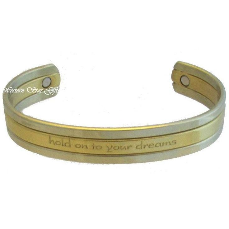 Magnetic Bracelet Silver Gold Message Arthritis Pain Relief Jewelry Hold Dreams | eBay