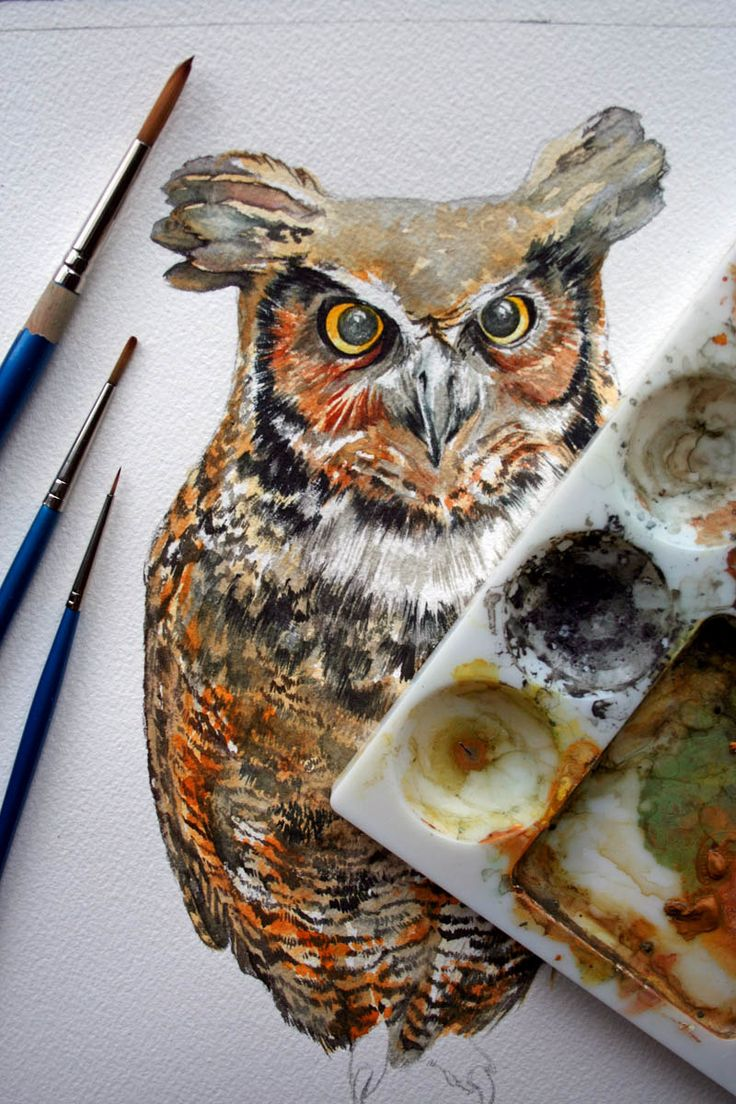 Owl Painting - Great Horned Owl Watercolor Painting - Original Watercolor