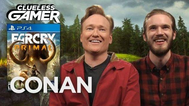 PewDiePie a Conan o'Brien testujú hernú pecku Far Cry Primal