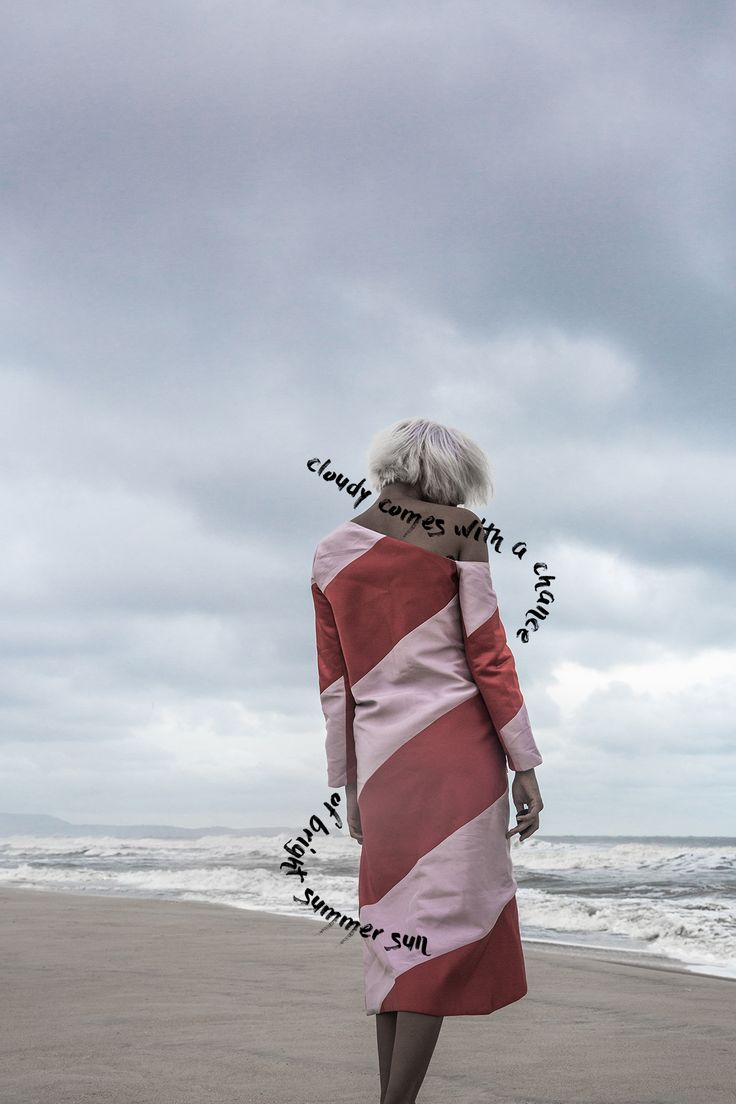 miuniku, rhea gupte, the girl from FUSS, FUSS, fashion photography, typography, beach, waves, white hair, bob