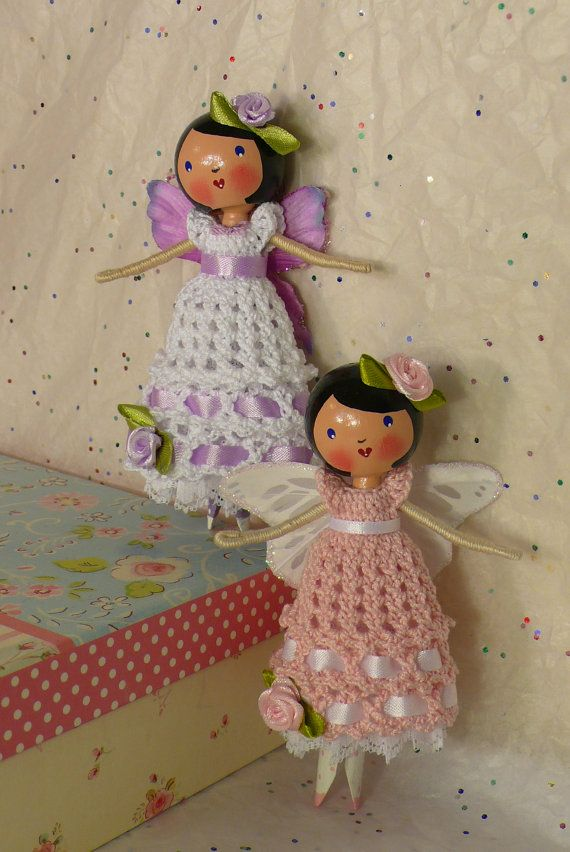 Rose Butterfly Fairy Clothespin Doll by creatingfromtheheart