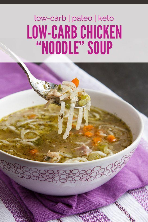"""Low-Carb Chicken """"Noodle"""" Soup #paleo #keto #grainfree"""