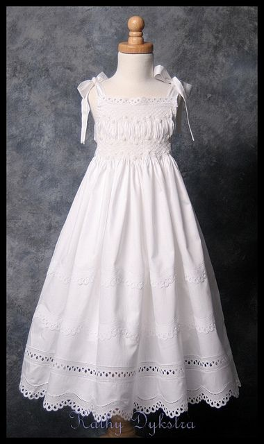 Smocked Sundress by kathy m d, via Flickr.  This can be smocked simply from the bishop with embellishments of lace, bottom and top, no special design smock, space left between rows after 5.