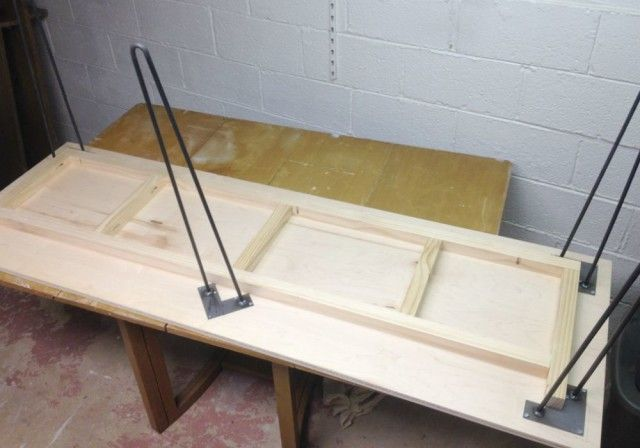 8 best cutting table ideas images on pinterest cutting for Plywood table hairpin legs