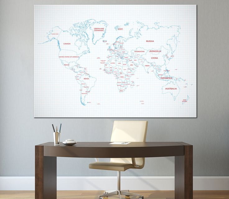 Large Blue world map wall art with countries names and borders canvas print,detailed world map,home decor canvas print ready to hang by CanvasPrintStudio on Etsy