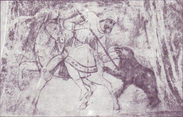 фреска Охота на медведя Софийский Собор