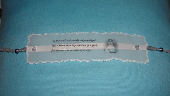 """Handmade Bookmark.Perfect for book lovers.     The sentence in this quote is:  """"It is a truth universally acknowledged, that a single man in possession of a good fortune must be in want of a wife."""""""