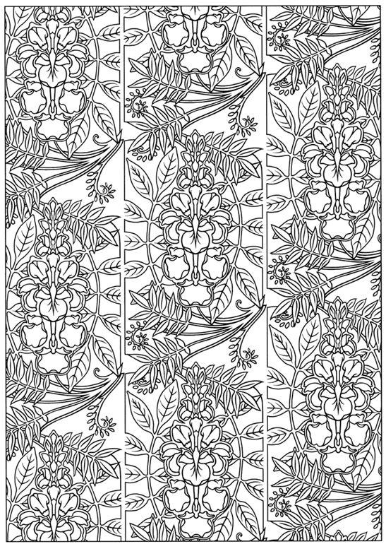 art nouveau patterns dover publications - Art Nouveau Unicorn Coloring Pages