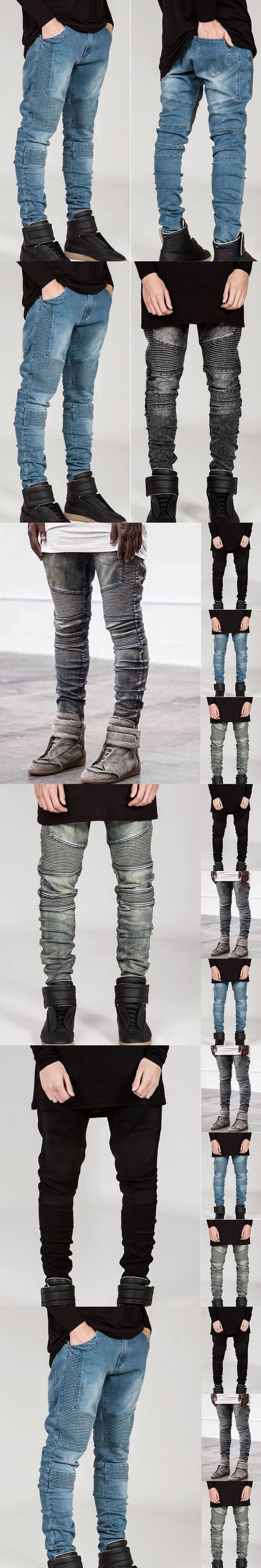 Mens Skinny Biker Jeans Men 2016 Street Ripped Rider Denim Motorcycle Runway Slim Fit Washed Moto Denim Pants Joggers 01Z999