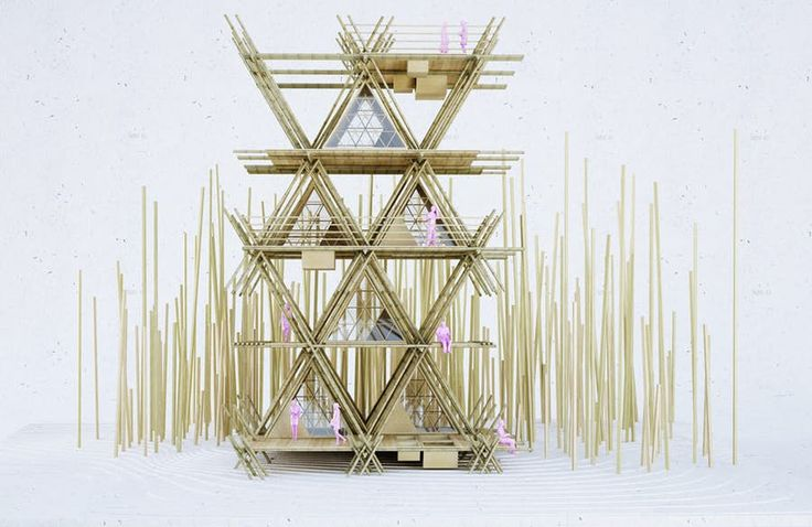 The treehouse comprises interconnecting grids measuring 4.7 x 4 m (15.4 x 13 ft) (Image: Penda)